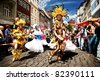 COBURG, GERMANY - JULY 10: The unidentified samba dancers participates in the annual samba festival in Coburg, Germany on July 10, 2011. - stock photo