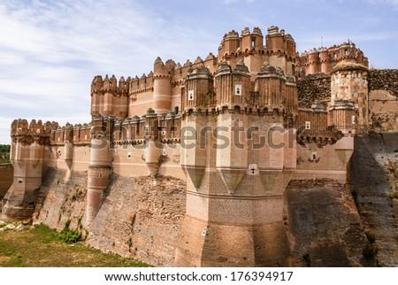 Coca Castle (Castillo de Coca) is a fortification constructed in the 15th century and is located in Coca, in Segovia province, Castilla y Leon, Spain - stock photo
