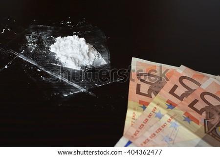 Cocaine and money - stock photo