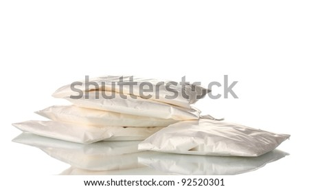 Cocaine in packet isolated on white - stock photo