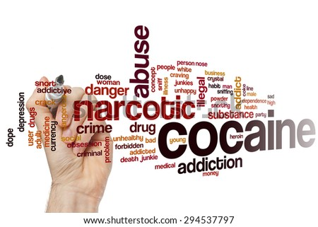 Cocaine word cloud concept with narcotic abuse related tags - stock photo