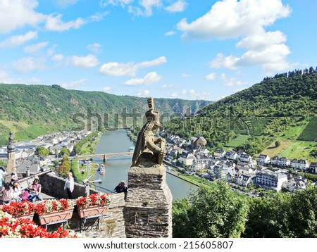 COCHEM, GERMANY - AUGUST 12, 2014: above view of Cochem town from Imperial Castle, Germany. Cochem is the town and the biggest place in Cochem-Zell district in Rhineland-Palatinate, Germany - stock photo