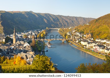 Cochem on the Moselle River (Mosel), Germany, on a sunny autumn day. - stock photo
