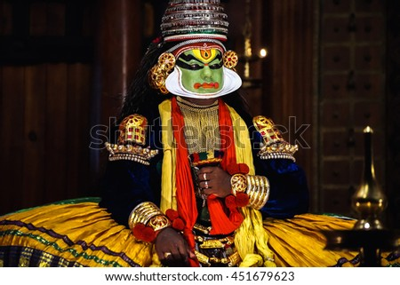 COCHIN, INDIA - NOVEMBER 23, 2015: The unidentified kathakali performer during the traditional kathakali dance of Kerala's state in India. - stock photo