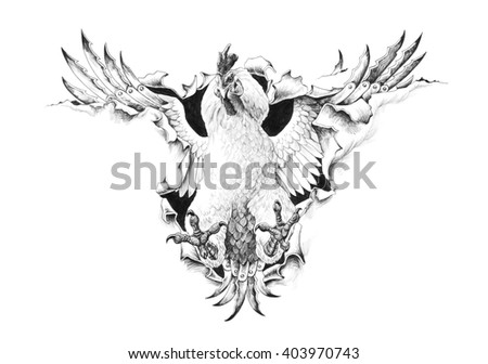 Cock Fight breaks through the metal. Pencil illustration. - stock photo