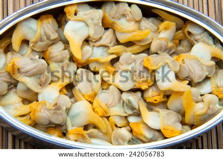 cockles canned in a Tin - stock photo