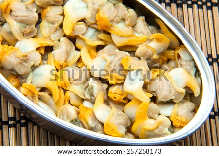 cockles in Tin of canned - stock photo
