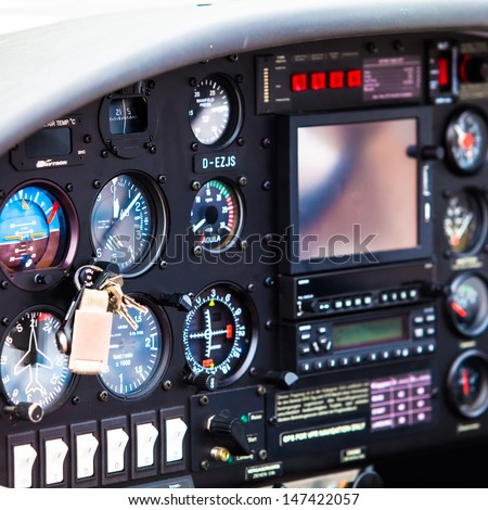 cockpit detail. Cockpit of a small aircraft - stock photo