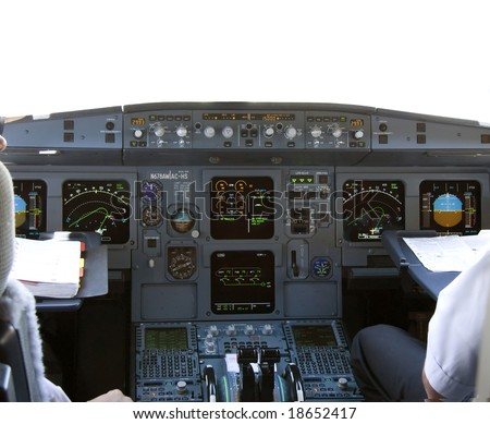 Cockpit in airliner - stock photo