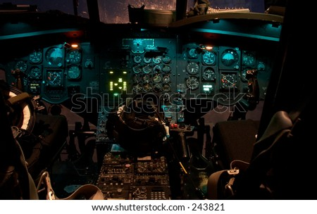 Cockpit of a Chinook helicopter - stock photo