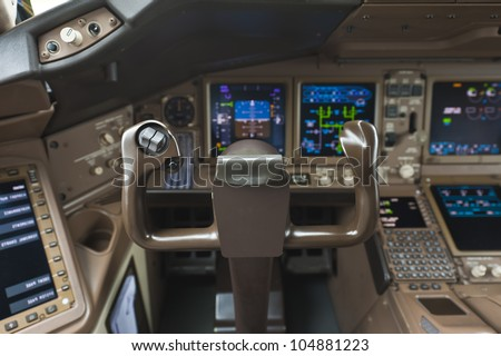 Cockpit of airplane - stock photo