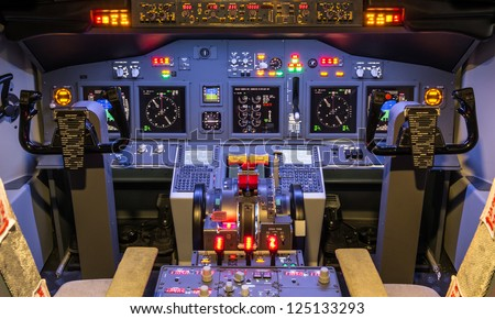 Cockpit of an homemade Flight Simulator - Boeing 737-800 - stock photo