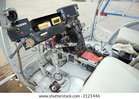 Cockpit of helicopter used for crop spraying - stock photo