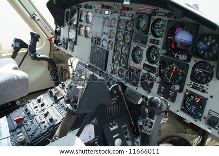Cockpit with instruments in helicopter of American origin. - stock photo