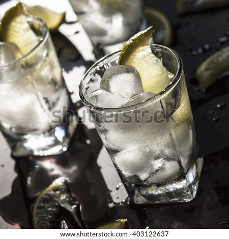 cocktail, alcohol, tequila, gin, vodka, ice, lemon, lime - stock photo