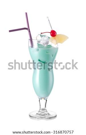 Cocktail BLUE HAWAII - stock photo