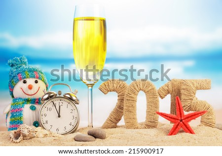 Cocktail, clock, snowman and New year sign - stock photo