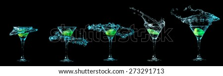 Cocktail collection isolated on black background - stock photo