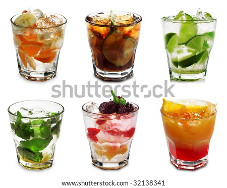 Cocktail Collection Isolated on White Background - stock photo