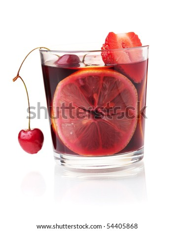 Cocktail collection - Refreshing fruit sangria with strawberry, orange and cherry. Isolated on white - stock photo