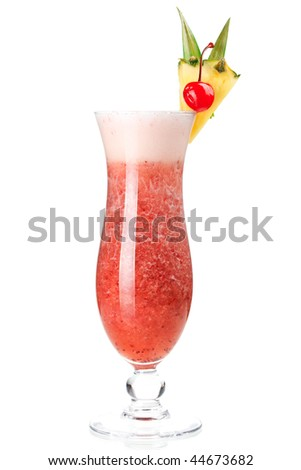 Cocktail collection: Strawberry Pina Colada isolated on white background - stock photo
