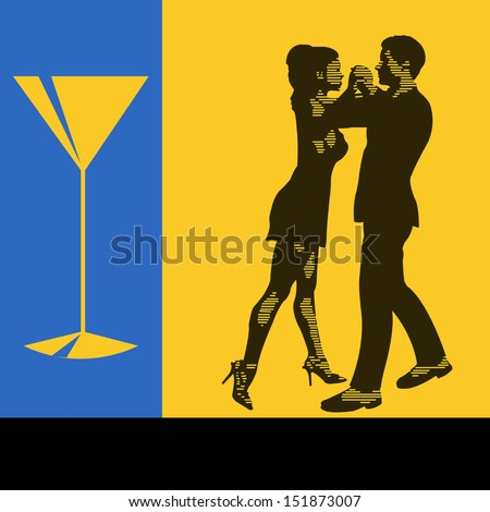 Cocktail Dance, background illustration with a pair of dancers for a event menu for flyer - stock photo