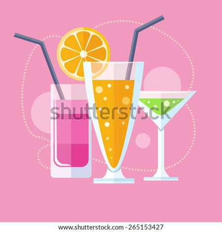 Cocktail drink fruit juice in flat design style. Retro style holiday cocktails. Set of alcoholic cocktails. Raster version - stock photo