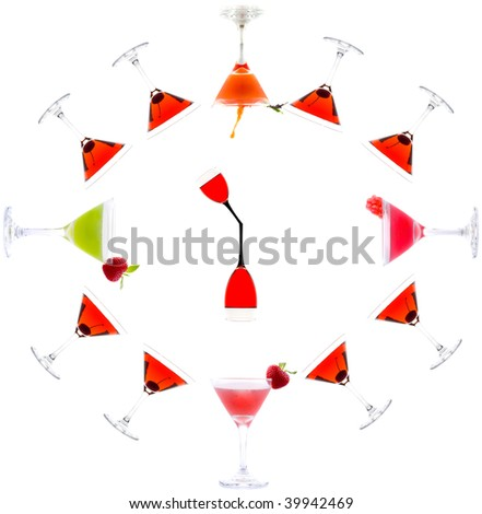 Cocktail drink on fruit. clock - stock photo