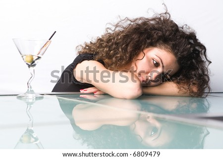 cocktail drinking girl - stock photo