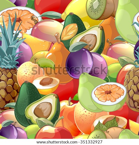 Cocktail fruits and berries seamless pattern - stock photo
