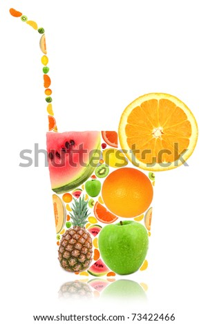 Cocktail glass shape made of fruit isolated on white - stock photo