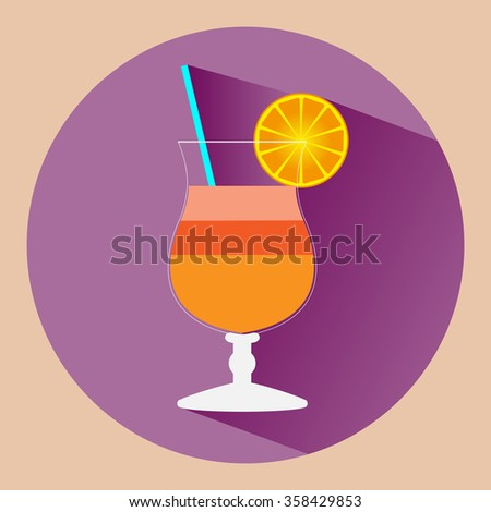 Cocktail glass with juicy drink and slice of orange. Drink time Raster illustration. - stock photo