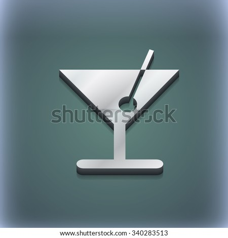 cocktail icon symbol. 3D style. Trendy, modern design with space for your text illustration. Raster version - stock photo