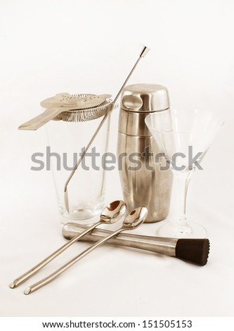 Cocktail instruments silver color - stock photo