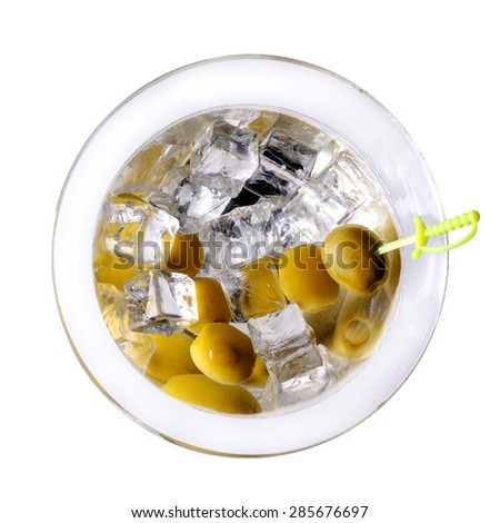 Cocktail martini with ice and olives. Top view. - stock photo