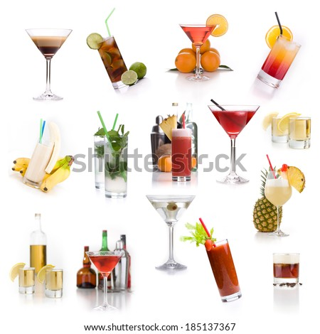 Cocktail menu - Lots of different classic cocktails - stock photo