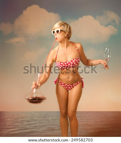 cocktail on the beach for a wine drinker - stock photo