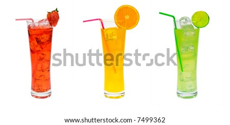 cocktail party set isolated on a white background - stock photo