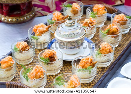 Cocktail party with variety of desserts and food  - stock photo
