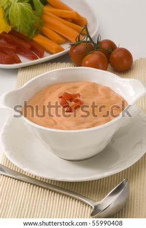 Cocktail sauce in a white bowl. Salad and seafood dressing. - stock photo