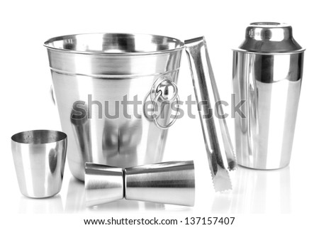 Cocktail shaker and metal ice bucket isolated on white  - stock photo