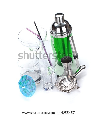 Cocktail shaker, utensils and glasses. Isolated on white background - stock photo