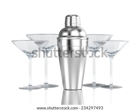 Cocktail shaker with glass - stock photo