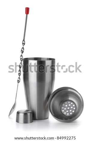 Cocktail shaker with spoon. Isolated on white background - stock photo