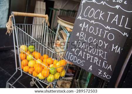 Cocktail sign on chalkboard - stock photo