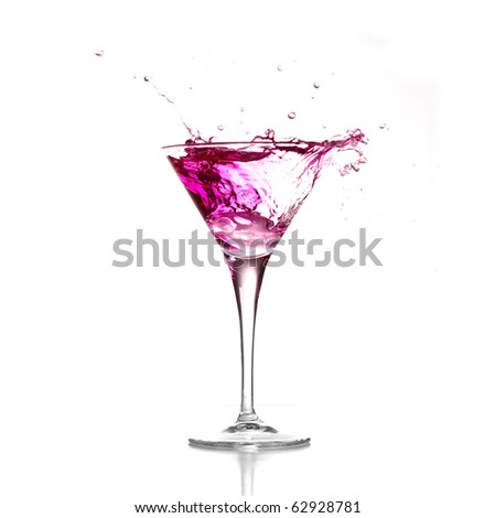 cocktail splash isolated on a white background - stock photo