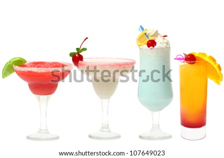 Cocktail - summer party set isolated (strawberry margarita, daiquiri, blue lagoon, Tequila Sunrise) - stock photo