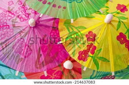 cocktail umbrellas isolated on white background  - stock photo