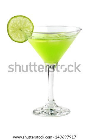 cocktail with a slice of lime in a martini glass - stock photo
