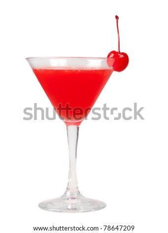 cocktail  with cherry closeup isolated on white background. - stock photo